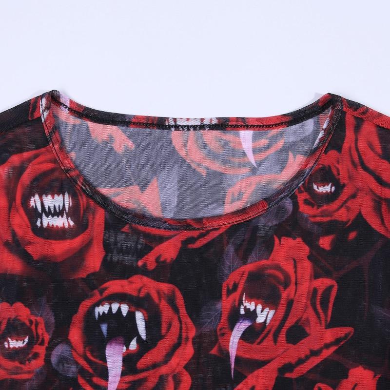 女性セクシーなドレスゴシックパンク黒赤ミニ半袖ワンピースプリントパッチワークパーティークラブ 割引価格 States 10