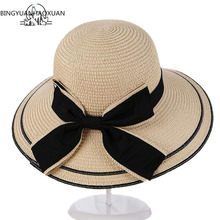 BINGYUANHAOXUAN Sun Hat Big Black Bow Summer Hats For Women Foldable Straw Beach Panama Visor Wide Brim Femme 2017 New