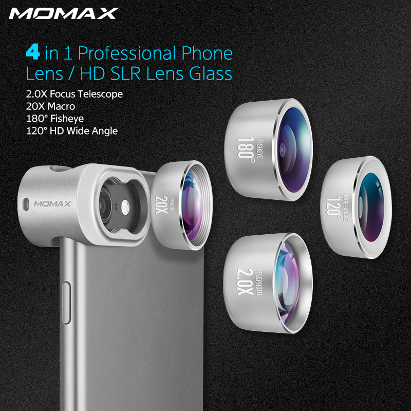 Momax Original 4 In 1 Mobile Phones Front Back Fisheye Kits Wide Angle Macro Camera Lentes