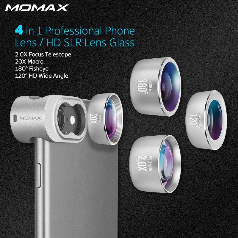 Momax 4 in 1 Telefoni Cellulari Anteriore Posteriore Kit Fisheye Grandangolare Macro Lentes fotocamera obiettivo della Fotocamera Del Telefono per il iphone 5 6 7 8 X Plus.