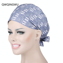 Woman Surgical Cap Adjustable Unisex Lab Hospital Doctor Medical Scrub Caps Nurse Cotton Printing Surgical Caps Man Women Cap