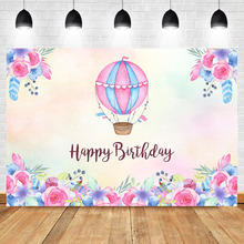 Neoback Adventure Travel Hot Air Balloon Photography Backdrops Pink Flower Girl Baby Birthday Party Photo Background Photophone