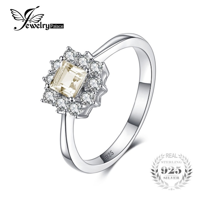 JewelryPalace Classic 0.65 ct Square Natural Lemon Quartz Ring Real 925 Sterling