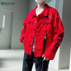 Куртки для мужчин с принтом букв свободные однобортный Тонкий Harajuku куртка s корейский стиль Ulzzang Мода ретро студентов пальто