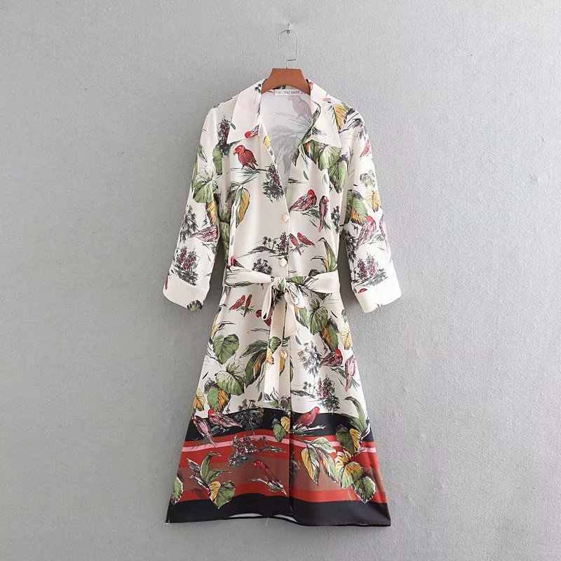2019 new summer women birds leaves position print casual sashes dress female three quarter sleeve vestidos kneeth dresses DS2070