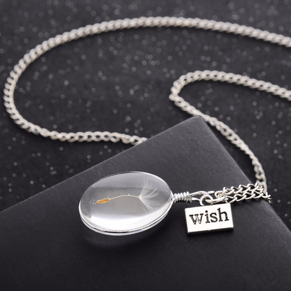 Wish Glass Natural Dandelion Seed In Glass Long Necklace Women's Novetly Plants Wish Necklaces Jewelry 3 Shape