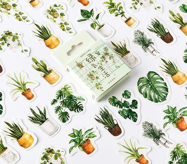 45pcs/lot The Green Plants Mini Sealing Paper Stickers Pack 4.4*4.4cm