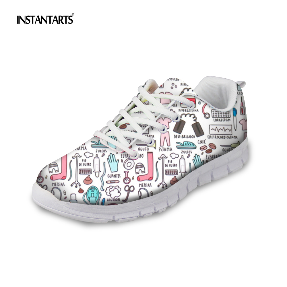 INSTANTARTS 2019 New Nurse Pattern Woman Sports Shoes Cartoon Nursing Girls Spring Running Shoes Outdoor Light Lace Up Sneakers