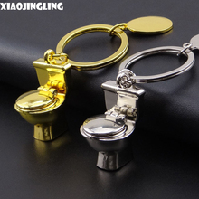 XIAOJINGLING Creative Night Stool Key Chain Trendy Silver/Gold Close Stool Keyring Mini Toilet Funny Keychain Car Keyfob For Men
