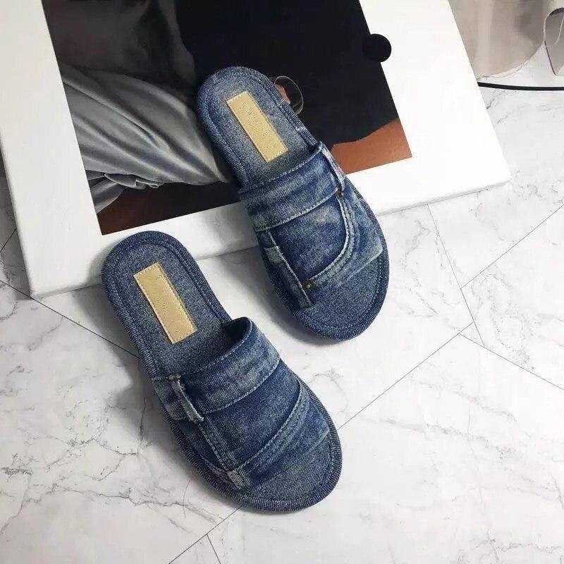 Brand Designer Denim Women Slipper Zapatos De Mujer Summer New Chaussures Femme Woman Flats Zapatos Mujer Trendy Women Shoes