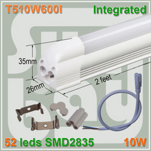 4pcs/lot LED tube T5 integrated 2ft bulb 0.6m 10W surface mounted with accessory for lamp to lamp Milky Clear Cover