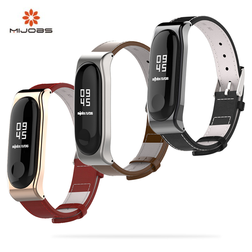 Mijobs Genuine Leather Strap For Xiaomi Mi Band 3 Smart Watch Screwless Bracelet mi band 3 Strap Miband 3 Strap Screwless Wrist