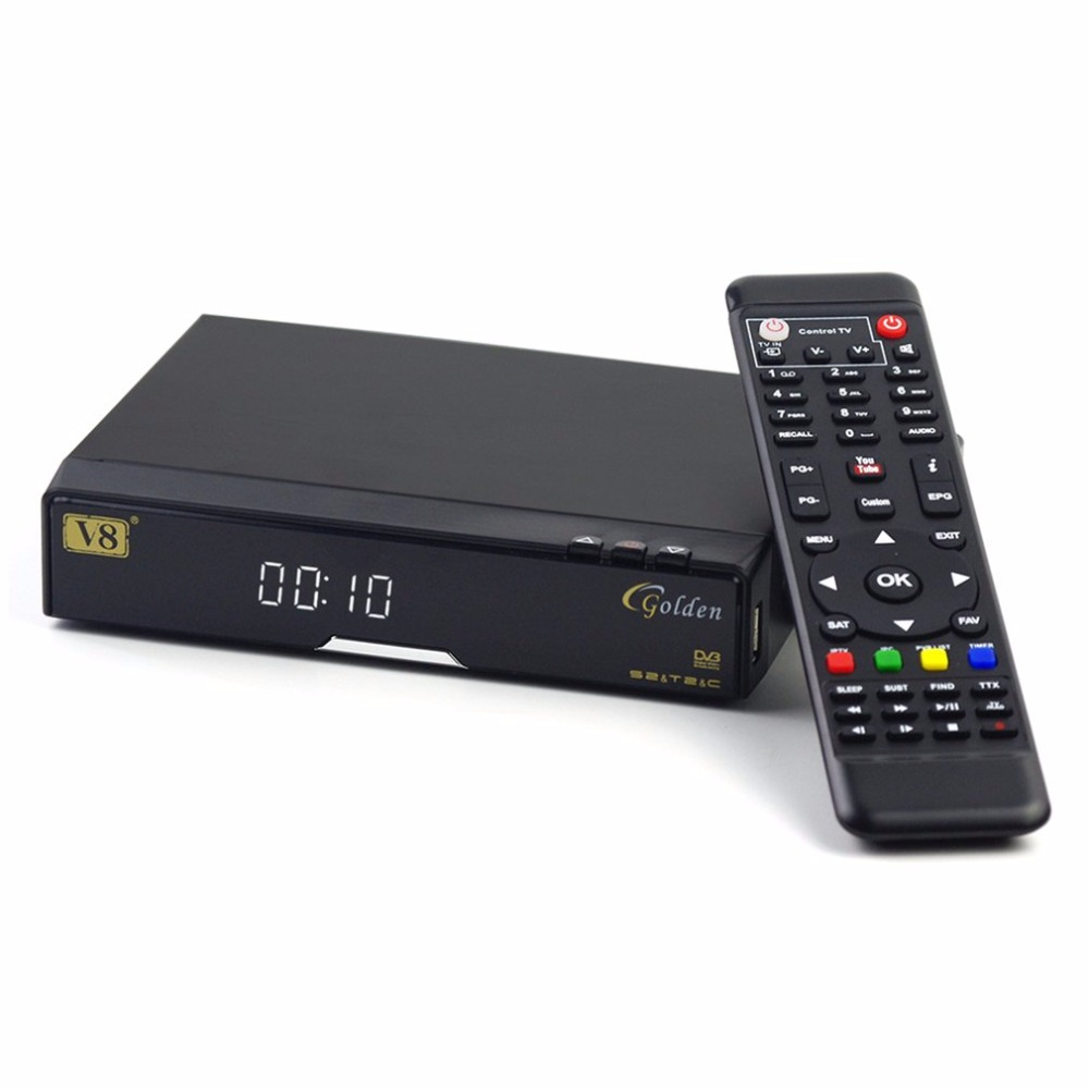 Freesat V8-GOLDEN-DVB-S2+T2+C Original Super Satellite TV Receiver With USB WiFi Support Full PowerVu Biss Key Set Top Box best v8 golden receptor satellite dvb t2 s2 c satellite receiver 1 year europe cccam cline support powervu biss key via usb wifi