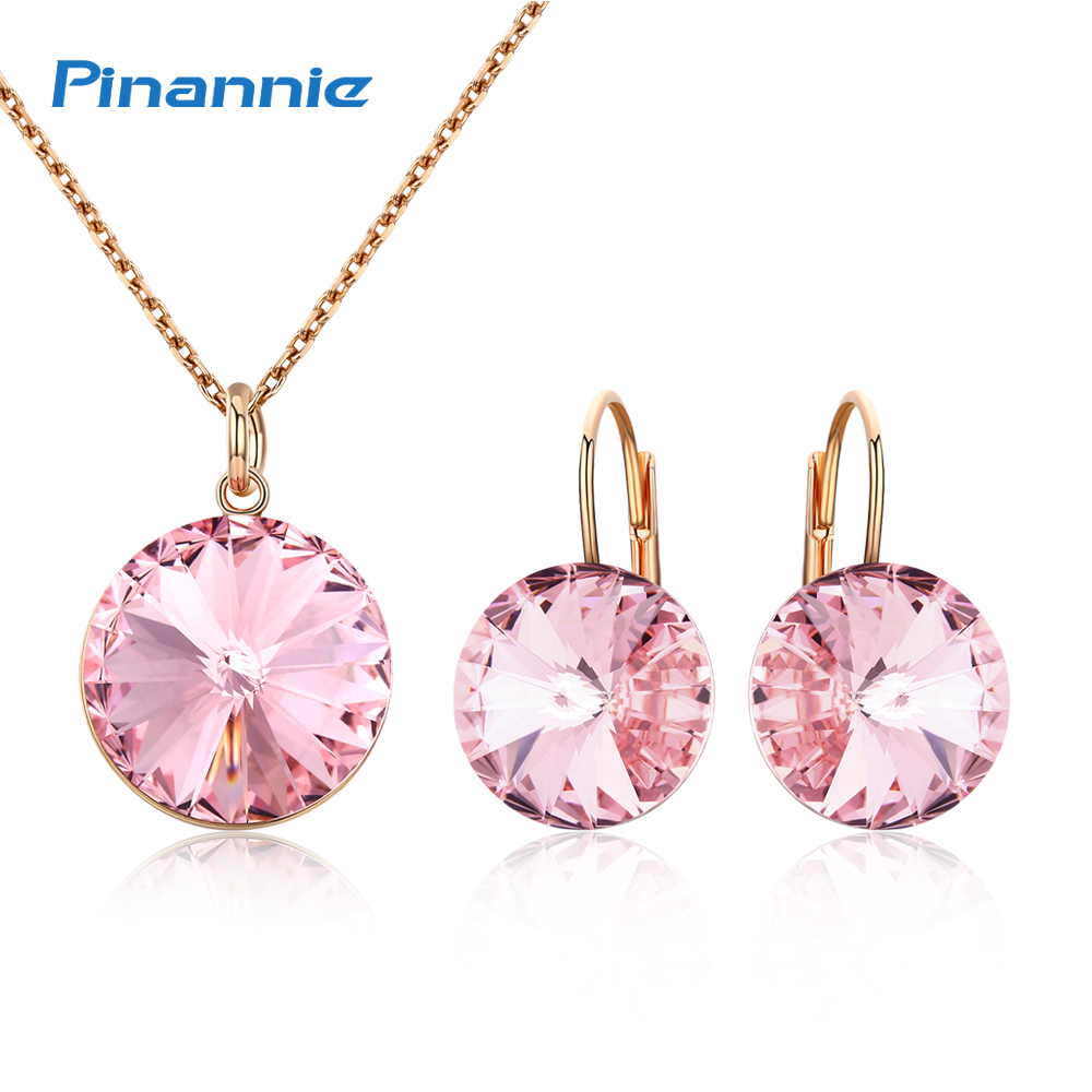 Pinannie Austria Crystal Jewelry Sets for Women Choker Necklace & Earrings Gold Color Wedding Party Gifts