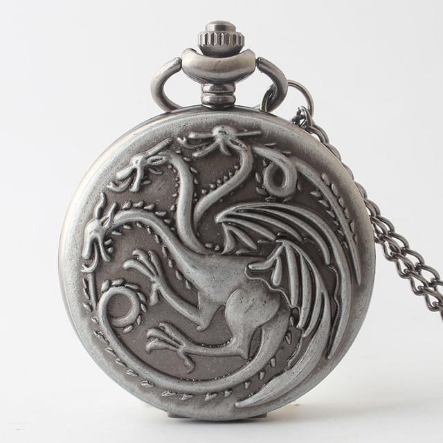 New Three dragonQuartz Pocket Watch Necklace Pendant Women Men's Gifts TD2079