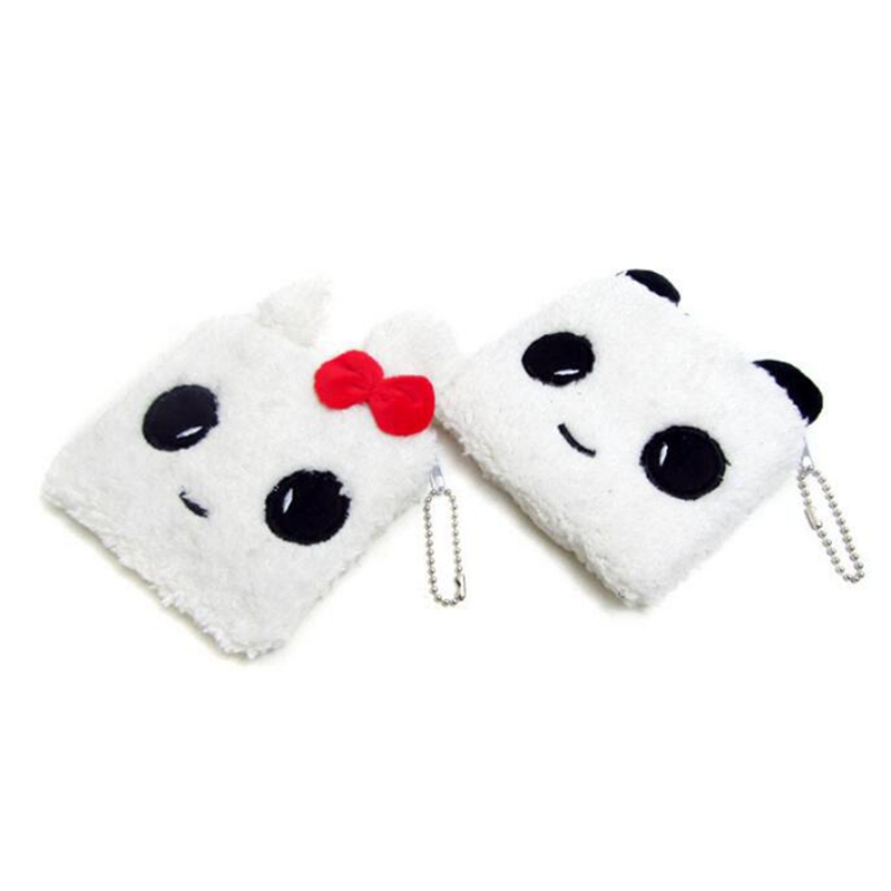 Kawaii Winter Plush Coin Bag Women Girls Cartoon Coin Purse 1PC Panda Rabbit Wallets
