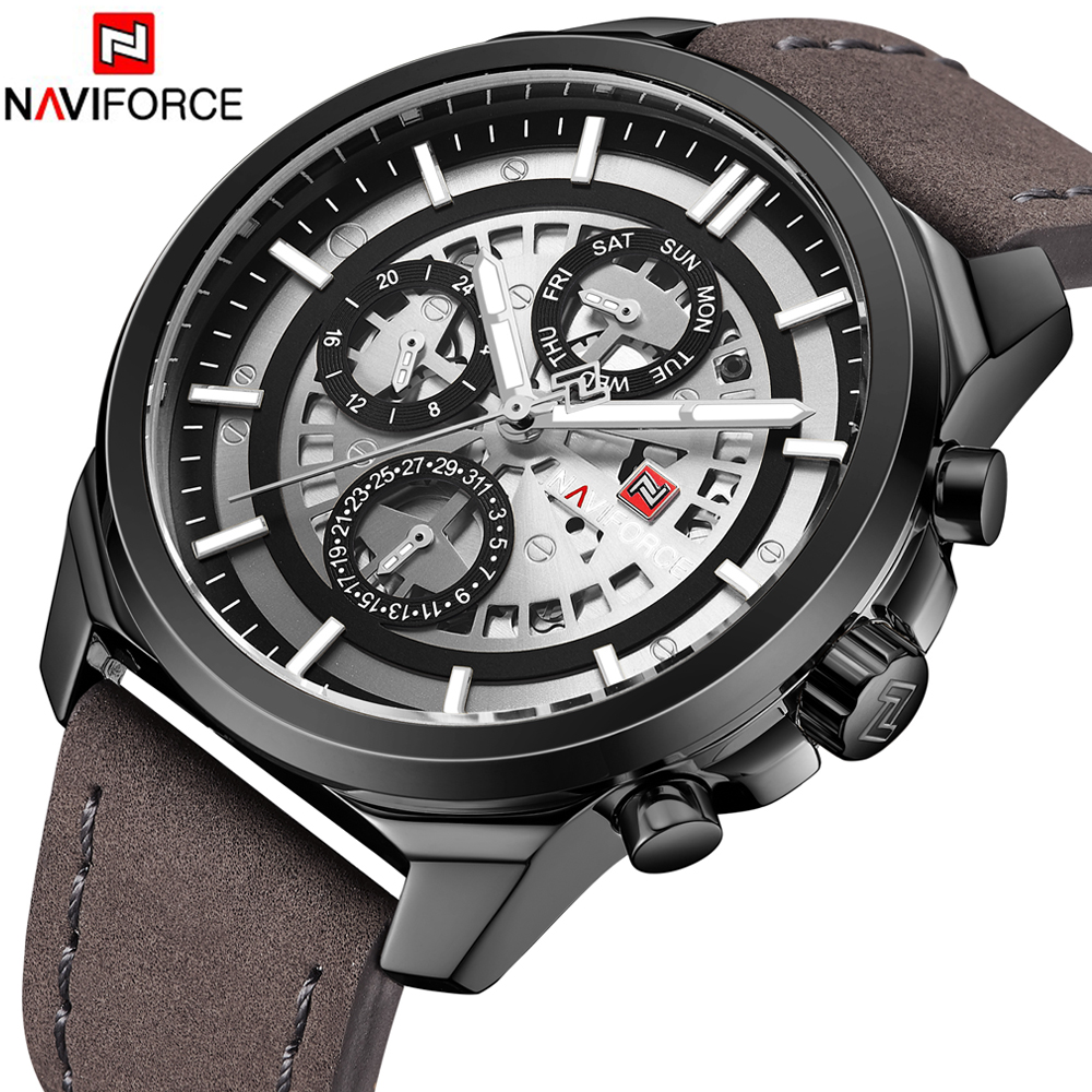 NAVIFORCE Mens Watches Top Brand Luxury Waterproof 24 hour Date Quartz Watch Man Leather Sport Wrist Watch Men Waterproof Clock цена