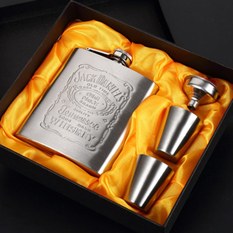 Portable Stainless Steel Hip Flask Men's Travel Outdoor Hip Flask Whiskey Bottle with Box Drinking Utensils Drinking Gifts