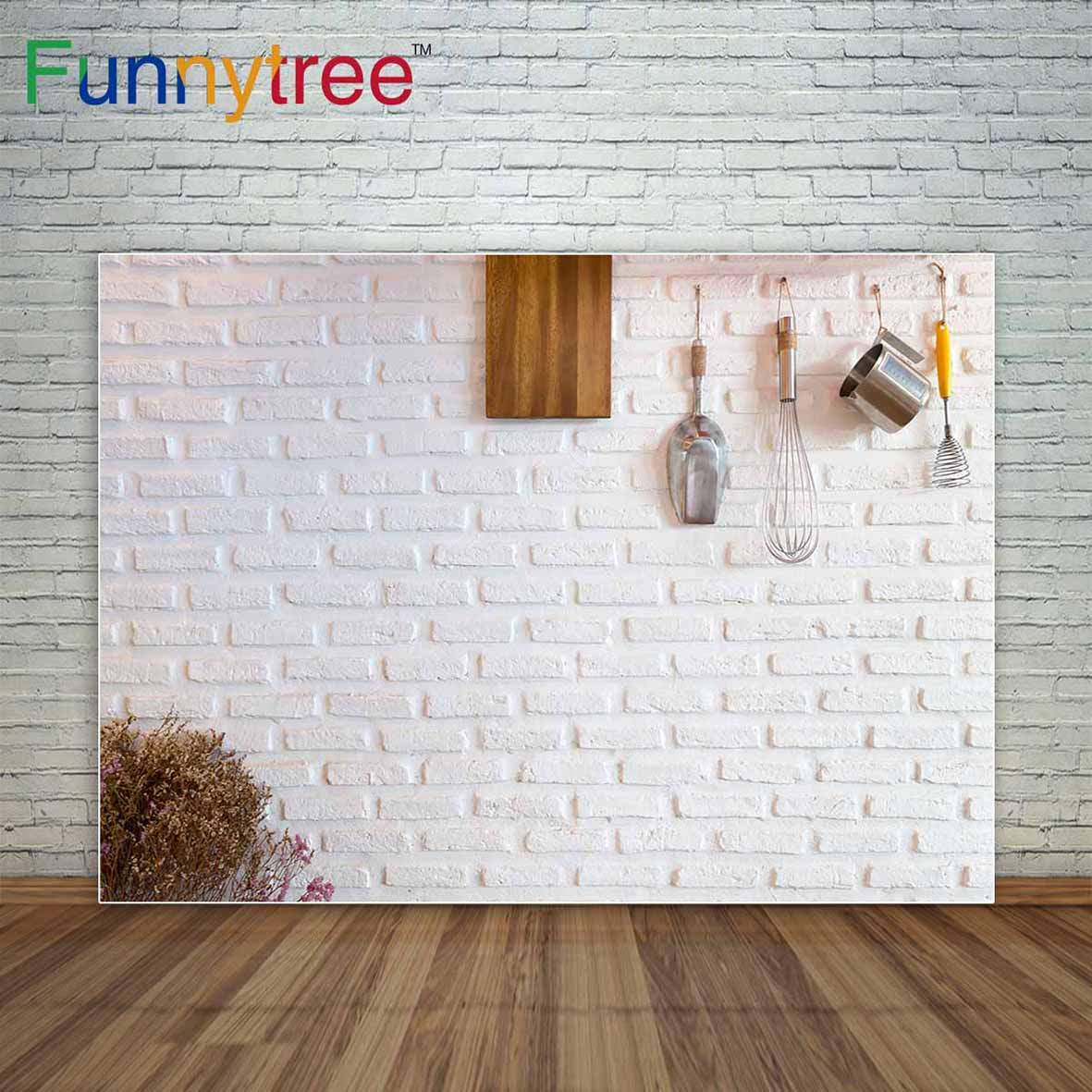 Funnytree photo background white brick wall with kitchen tools backdrop professional photography background decoration photocall christmas photo background rose daisy flower professional new born xmas photography photocall background pictures