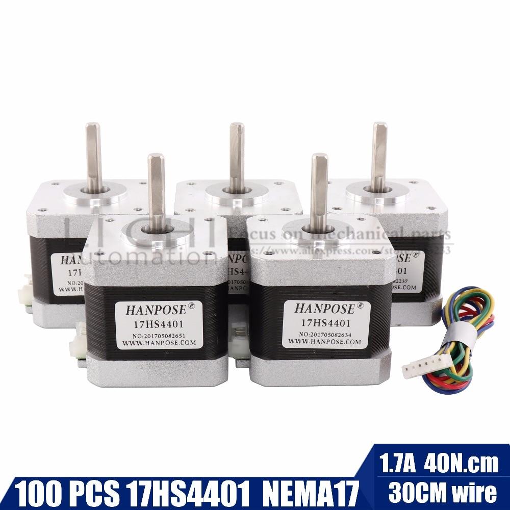 100pcs 4 lead Nema17 Stepper Motor 42 motor NEMA 17 motor 42BYGH 1 7A 17HS4401 use