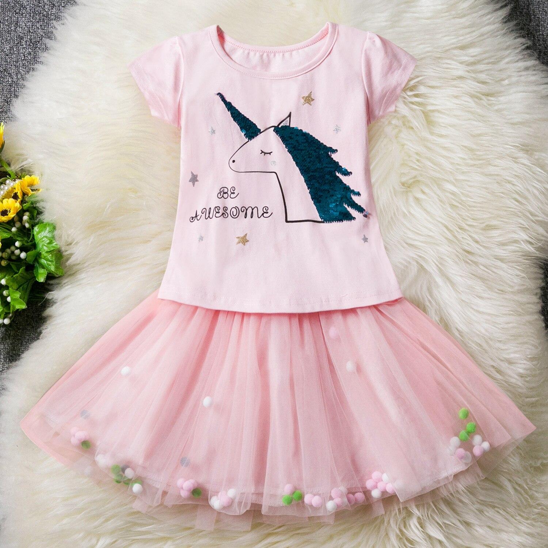 2019 New Kids Clothing Toddler Girls Skirt Sets Baby Girl Unicorn Tops +Skirt For Clothes Shirt Tutu 2pcs