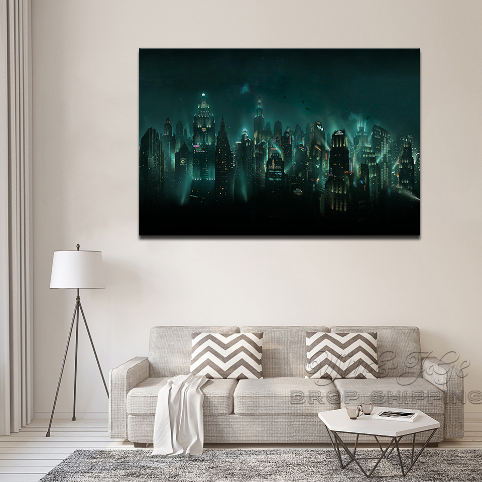 Us 8 73 40 offpainting wall art video game poster canvas printed 1 panel bioshock rapture night view modular abstract pictures home decoration in