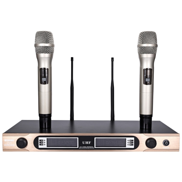 2016 Новый WEISRE U-3316 Профессиональный 740-790 МГц УВЧ Беспроводной Ручной Двухканальной Передатчик Микрофон Набор