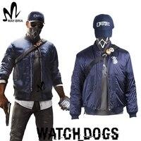 Игры Watch Dogs 2 костюм Маркус Холлоуэй Косплэй костюм Watch Dogs Маска cap рубашка голубая куртка изготовление под заказ Новогодние костюмы