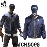 Game Watch Dogs 2 Costume Marcus Holloway Cosplay Costume Watch Dogs mask cap shirt blue jacket custom made Christmas costumes