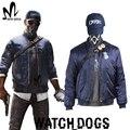 Reloj de juego Perros 2 Traje Marcus Holloway Cosplay Perros Guardianes máscara cap camisa azul chaqueta por encargo trajes De Navidad