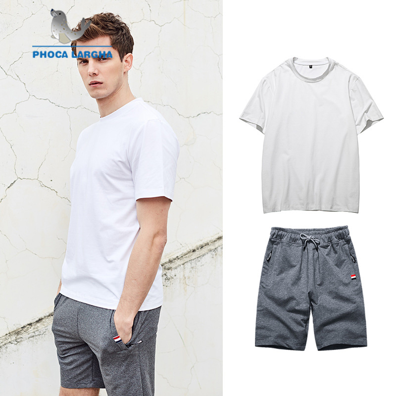 Men's Summer Sets Fashion Solid T-Shirts And Shorts Sets For Men Casual Slim Fit Tees Sweatshirt+Pants Beach Sporting Suits Male