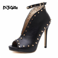 2018Europe Popular Street Beat Rivet Fish Mouth Shoes High Heeled Catwalk Sexy Rome Casual Buckle Strap