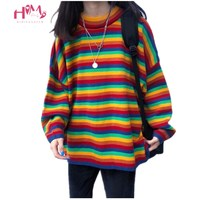 Korean Ulzzang Rainbow Striped Women Sweaters Harajuku Oversized Cute Colorful Winter Pullover Clothes Casual Knitted Jumper