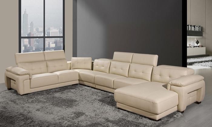 free shipping new modern large sofa u shaped genuine leather sofas solid wood frame furniture - Large Sofas