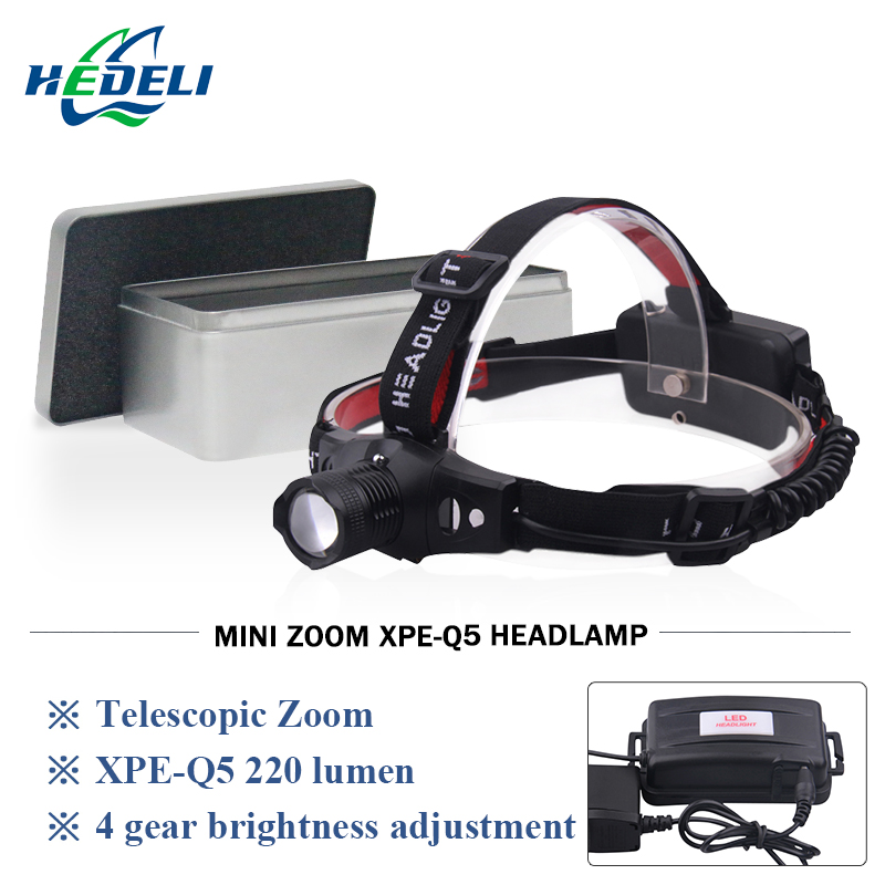 Mini zoomable led Headlamp rechargeable headlight cree flashlight Head light waterproof 18650 batter OR AAA hunting Camp Fishing