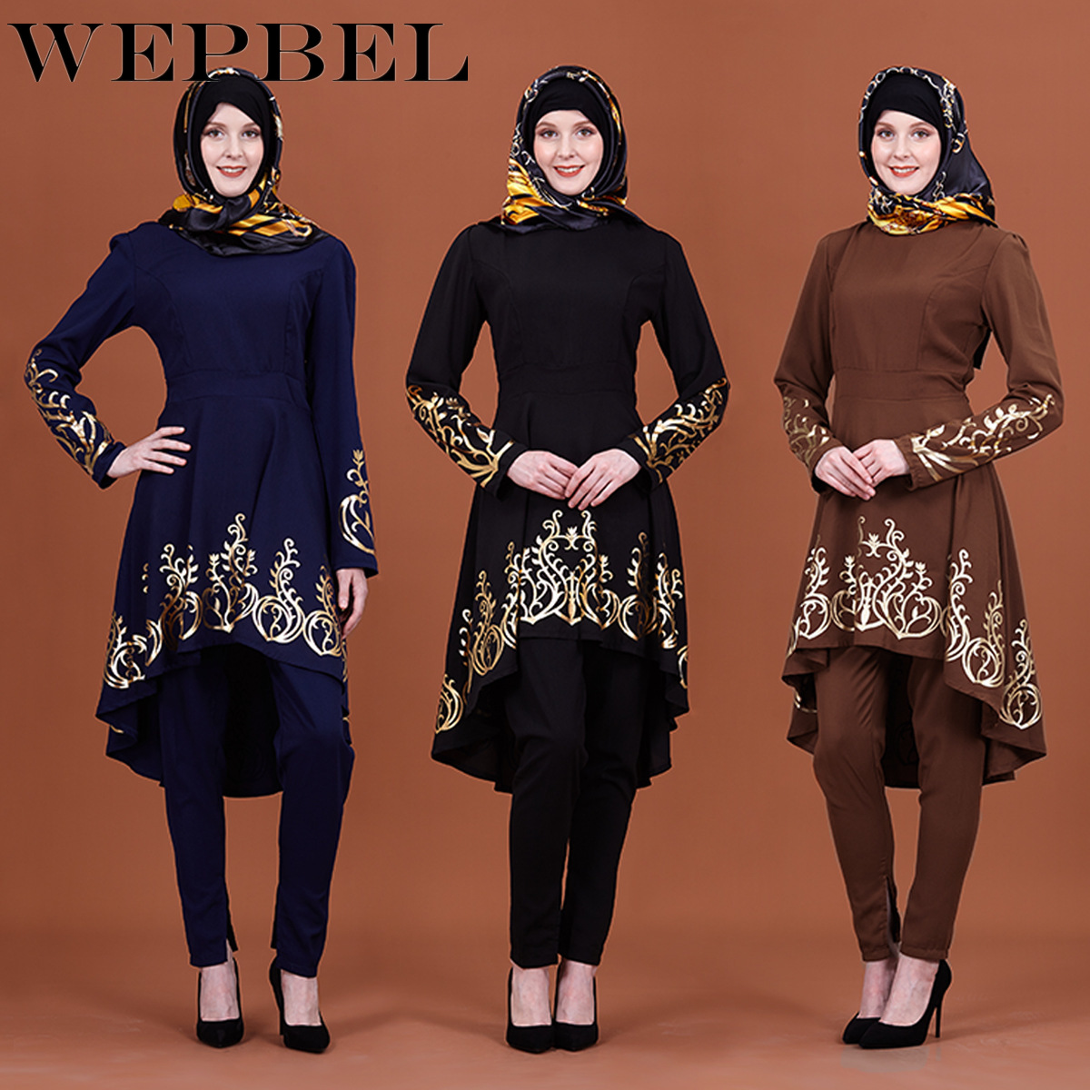 WEPBEL Muslim Gilded Printing Women's Clothing Middle East Solid Color Ramadan Islamic Abaya
