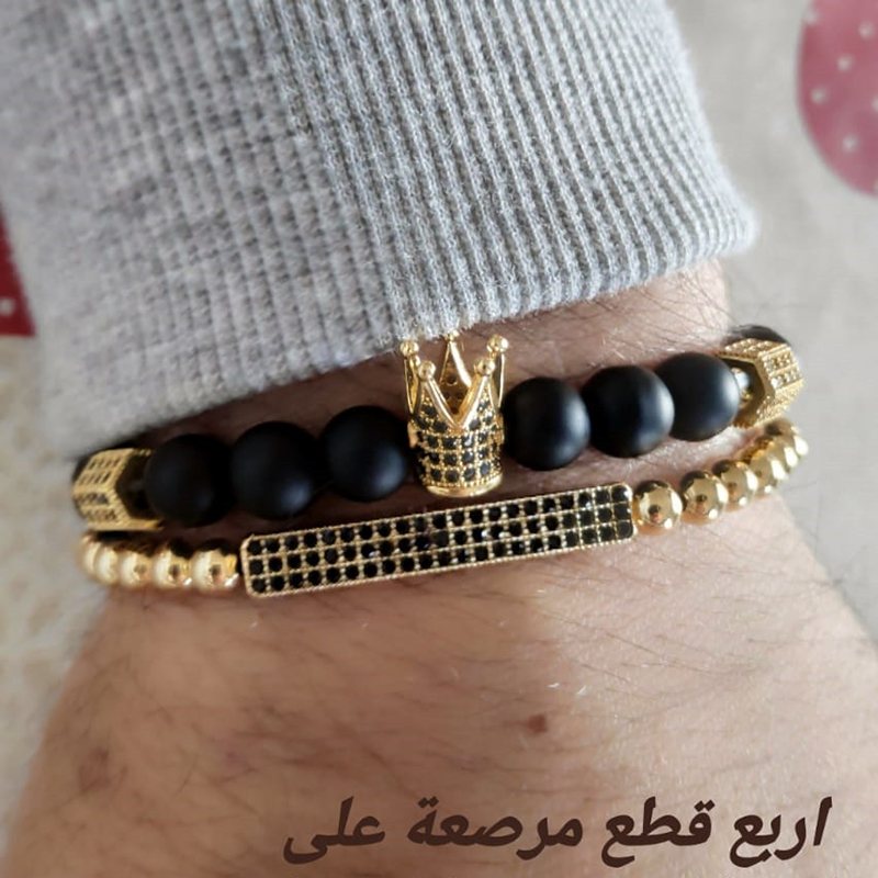 Fashion Couple Beads Bracelet Sets Elastic Bradiing CZ Bar Crown Charm Bracelet Sets For Men Women Hand Jewelry Pulseira Homme in Charm Bracelets from Jewelry Accessories