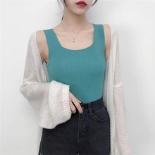 Hot sale Korean Women Sexy Slim Knitted Top Pure Color Brand New Shirt 9 colors Style Sleeveless Blusas Vest Tank Top D358 casual pure color high low knitted top for women