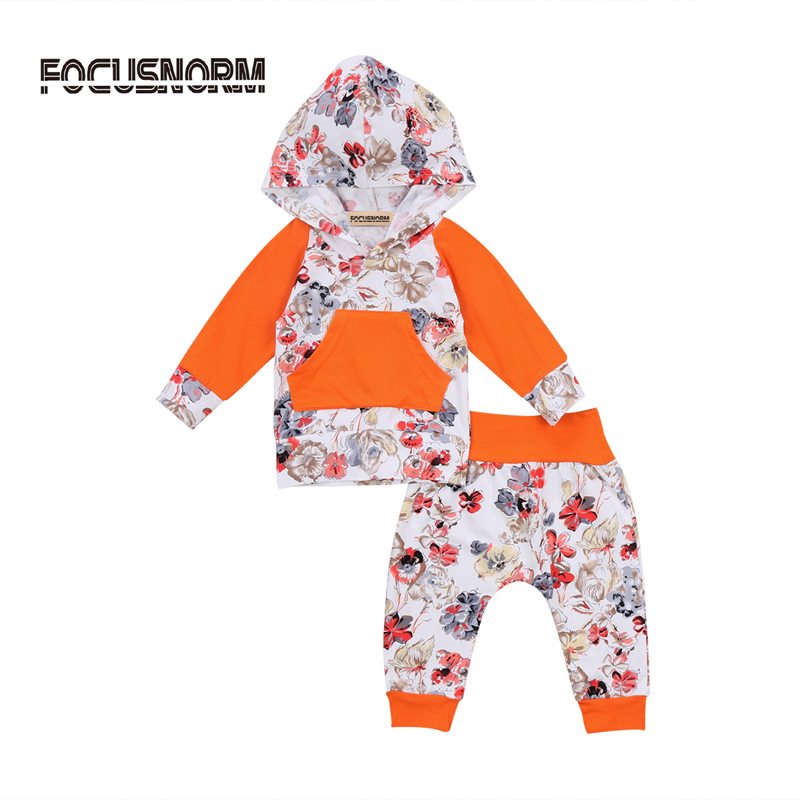 Newborn Baby Girl Clothes Cotton Floral Hooded Tops Long Pants 2Pcs Outfits Set Clothes 0-24M