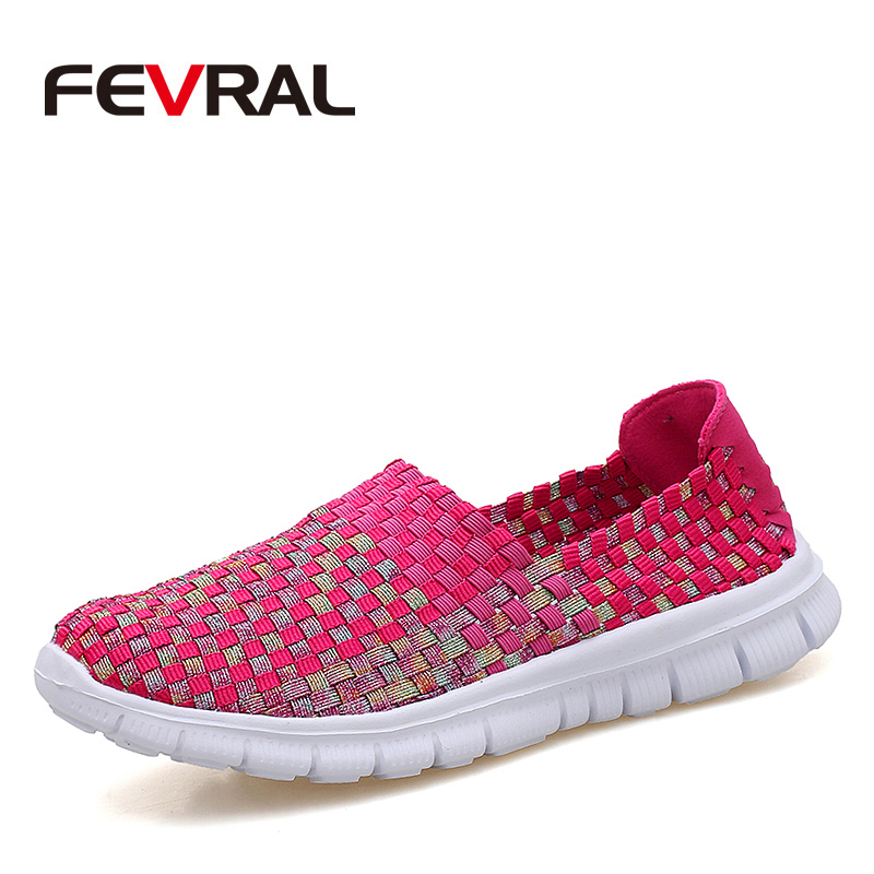 FEVRAL 2018 New Woman Hot Light Sneakers Summer Breathable Female Cheap Casual Shoes Lady Comfortable Hand-woven Women Shoes hot sale 2018 new fashion lightweight breathable shoes leather flat women shoes comfortable classic style casual sneakers