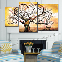 3 Panel 100% Hand Painted Tree Oil Painting Painting Abstract Modern Decoration Art Canvas Wall Parlor Bedroom Free Shipping
