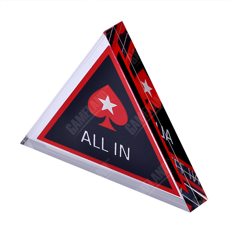 Triángulo de acrílico Pokerstars Poker ALL IN Button Card Guard Poker Accesorio 7cm Casino Poker Chips