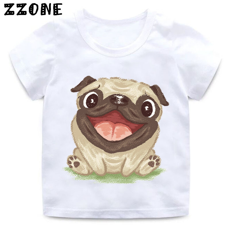 Children Retro Flower Pug Watercolor Print Funny T Shirt Girls And Boys Summer White Tops Kids Casual Soft T-shirt,ooo2162