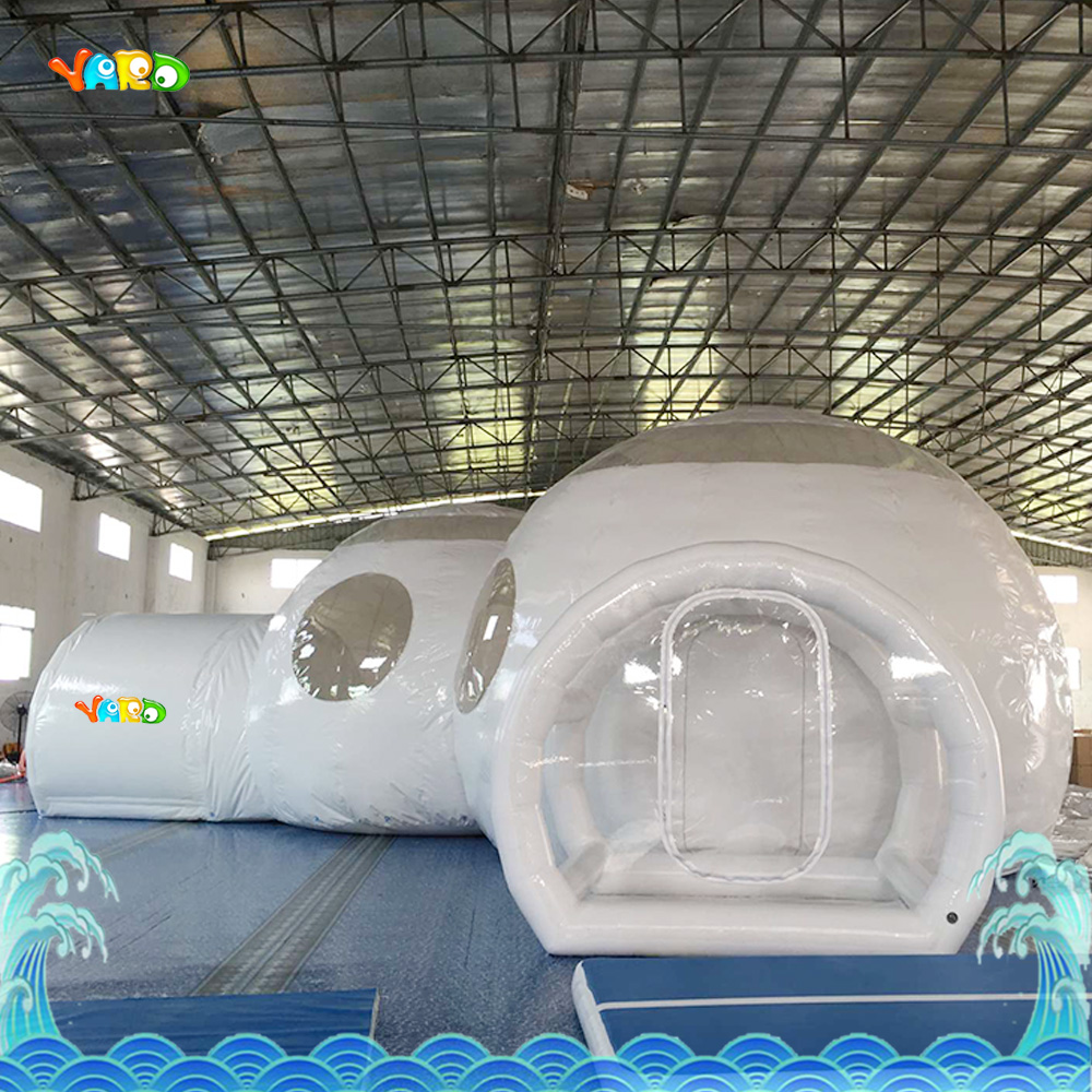 PVC white play house bubble tent commercial with toilet with sea shipping commercial sea inflatable blue water slide with pool and arch for kids
