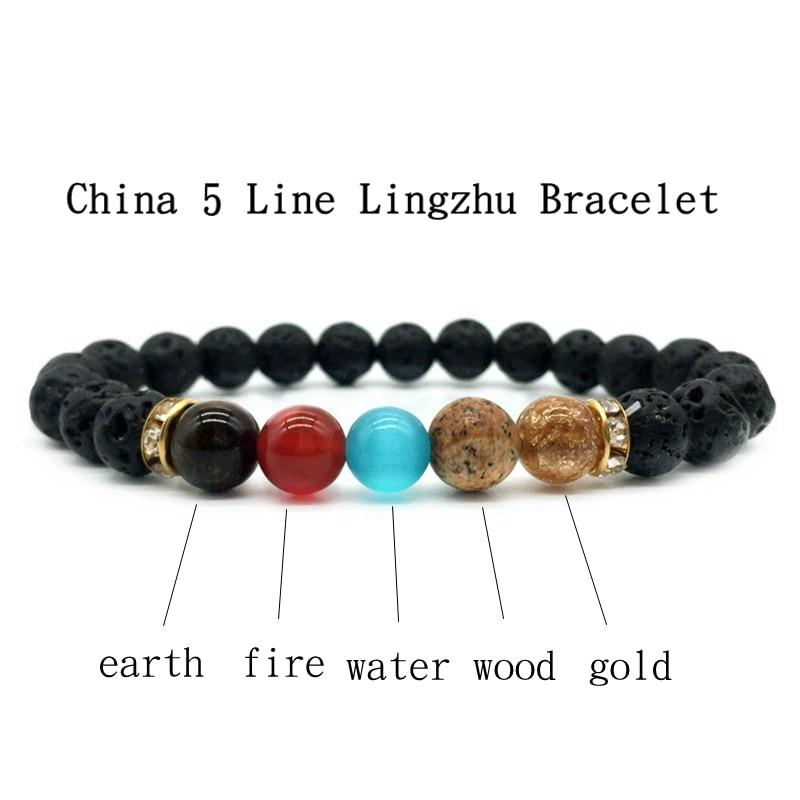 1 Pc Fashion Style 5 Chakra Healing Beaded Bracelet Natural Lava Stone Diffuser Bracelet Jewelry Armbanden Voor Vrouwen