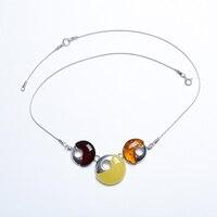JIUDUO jewelry GenuineSimple и природной яшмы amber зеленый оловянные воск Серебряное ожерелье Кулон Аутентичные верность