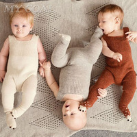 Hand Knitting Cotton Soft 0 2 Years Newborn Baby Warm Romper For Infant Girls Boys Winter