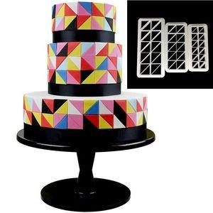 Image 2 - 3pcs כיכר גיאומטרי Cutters יצק קוקי קאטר גיאומטריה עוגת עובש פונדנט תבנית אפיית 6 עיצובים