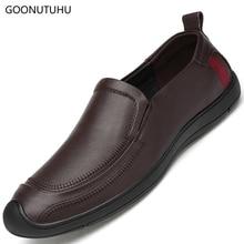 2019 new mens dress shoes genuine leather man wedding & office slip-on shoe male classic brow black elegant formal men