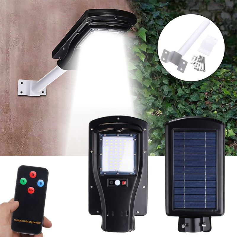 Waterproof Motion Sensor 60 LED Solar Light 2835 smd 30W Solar Panel LED Street Light Outdoor Lighting With Remote Controller